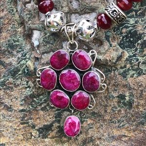 Sterling Silver Raw Ruby Necklace/Bracelet